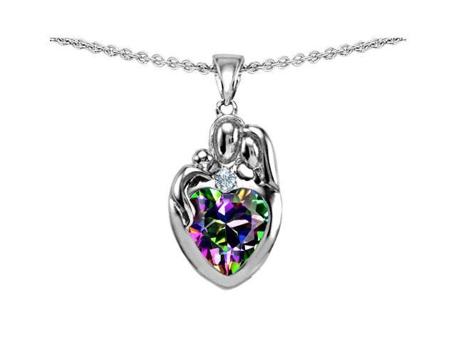 Original Star K(TM) Loving Mother And Father With Child Family Pendant With Heart Shape 8mm Mystic Rainbow Topaz