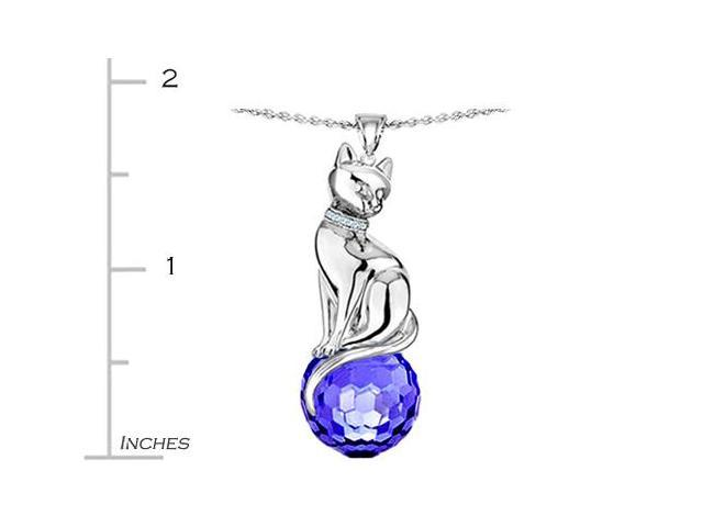 Star K Large Cat Pendant with 10mm Simulated Sapphire faceted Ball in Sterling Silver