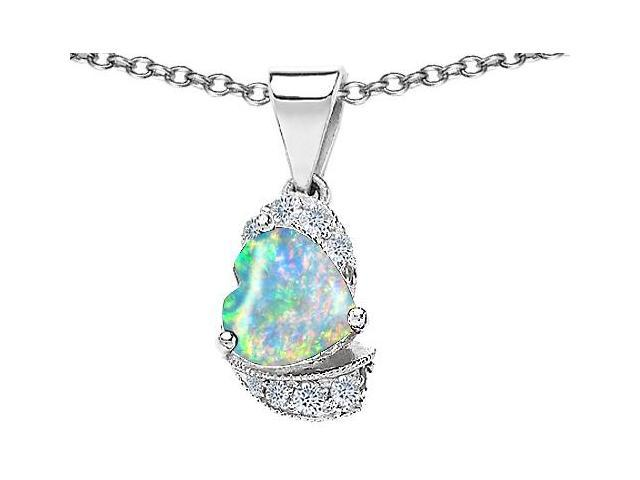 Star K Heart Shape 8mm Simulated Opal Love Pendant in Sterling Silver
