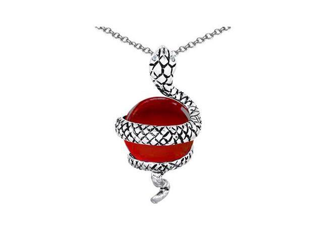 Star K Large Snake Pendant with 10mm Simulated Ruby Ball in Sterling Silver