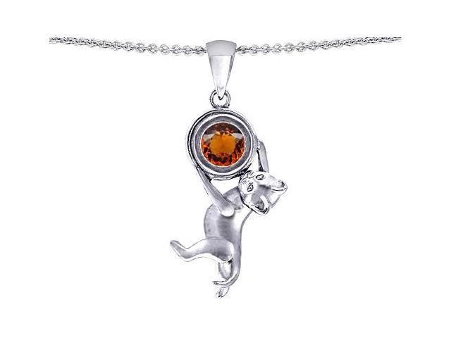 Star K Cat Lover Pendant with January Birth Month Simulated Garnet in Sterling Silver