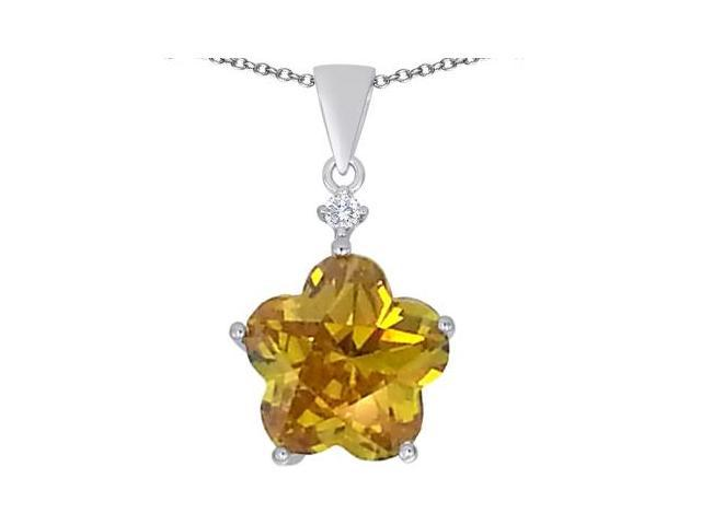 Star K Large 14mm Flower Shape Star Pendant with Simulated Citrine in Sterling Silver