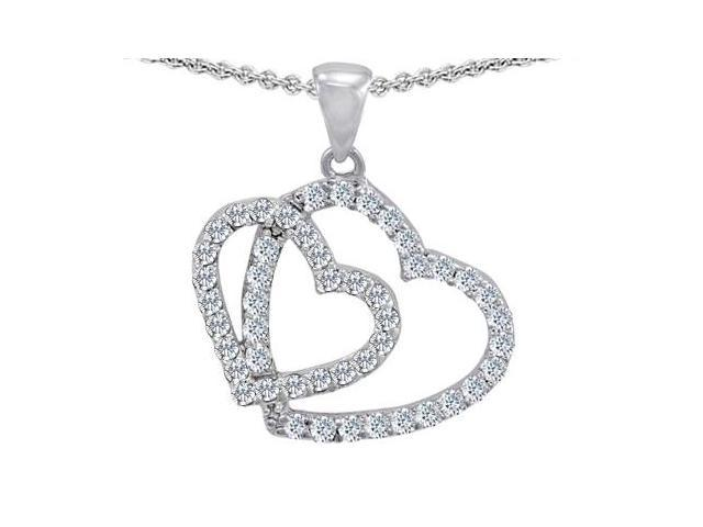 Star K Double Heart Love Pendant with Round Simulated White Topaz in Sterling Silver