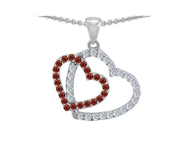 Star K Double Heart Love Pendant with Round Simulated Garnet in Sterling Silver