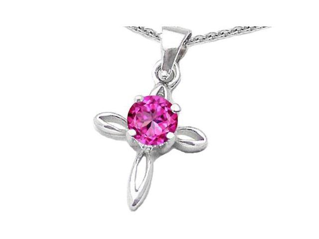 Star K Round Created Pink Sapphire Cross Pendant in Sterling Silver