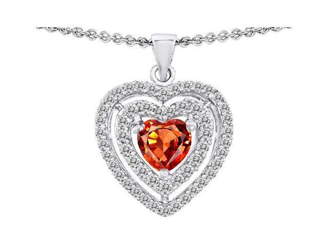 Star K 6mm Heart Shape Simulated Orange Mexican Fire Opal Heart Pendant in Sterling Silver