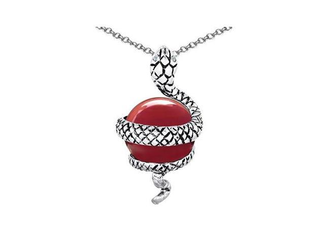 Star K Large Snake Pendant with 10mm Simulated Red Coral Ball in Sterling Silver