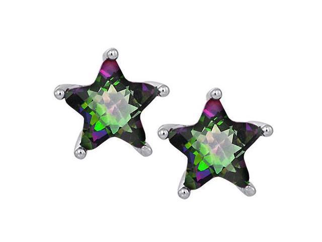 Star K Fancy Star Cut Earrings Studs with 7mm Rainbow Mystic Topaz in Sterling Silver