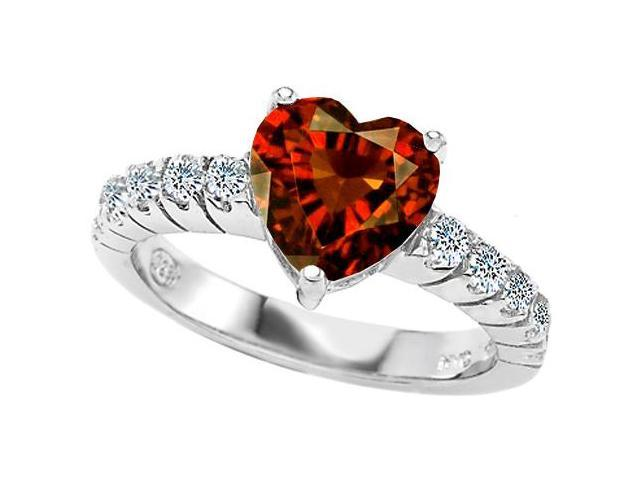 Star K 8mm Heart Shape Simulated Garnet Engagement Ring in Sterling Silver Size 6