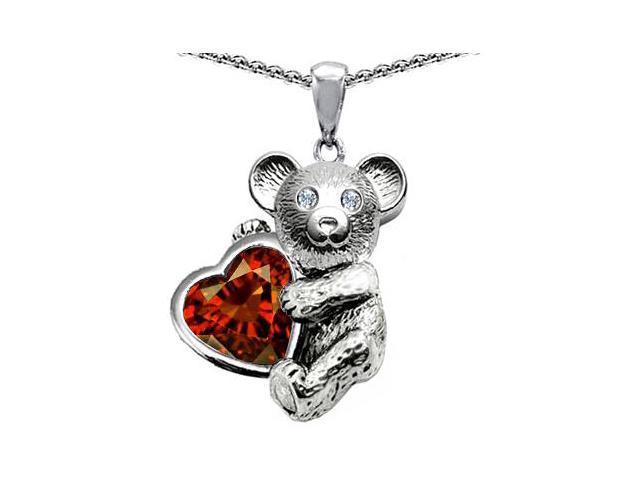 Star K Love Bear Hugging Birth Month of January 8mm Heart Shape Simulated Garnet in Sterling Silver