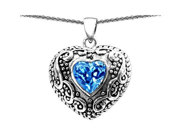 Star K Bali Style Puffed Heart Hand Finished Heart Shape Simulated Blue Topaz Pendant in Sterling Silver