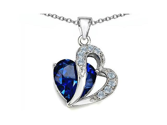 Star K(TM) Large 12mm Simulated Blue Sapphire Heart Pendant with Sterling Silver Chain