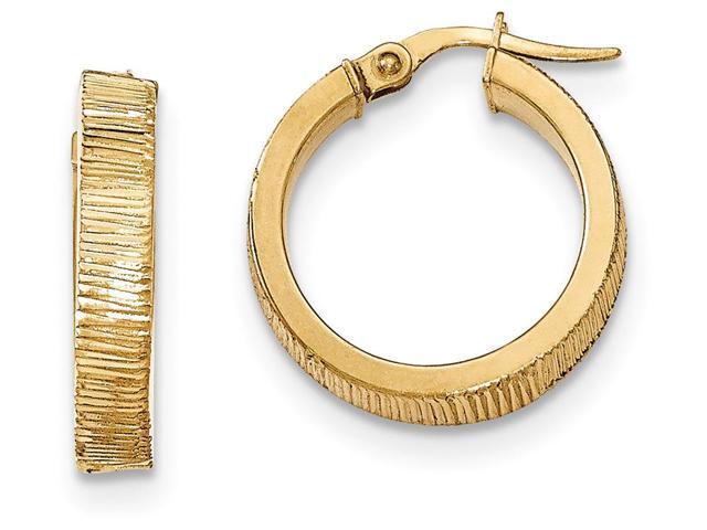 14k bright cut hoop earrings in 14 kt yellow gold newegg