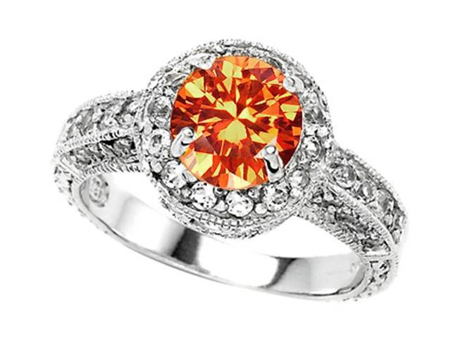 Star K 7mm Round Simulated Mexican Fire Opal Engagement Ring in Sterling Silver Size 6