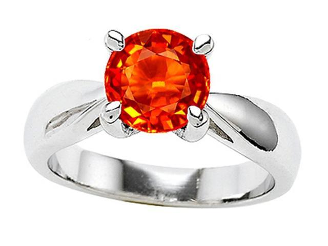 Star K 7mm Round Simulated Mexican Fire Opal Ring in Sterling Silver Size 5