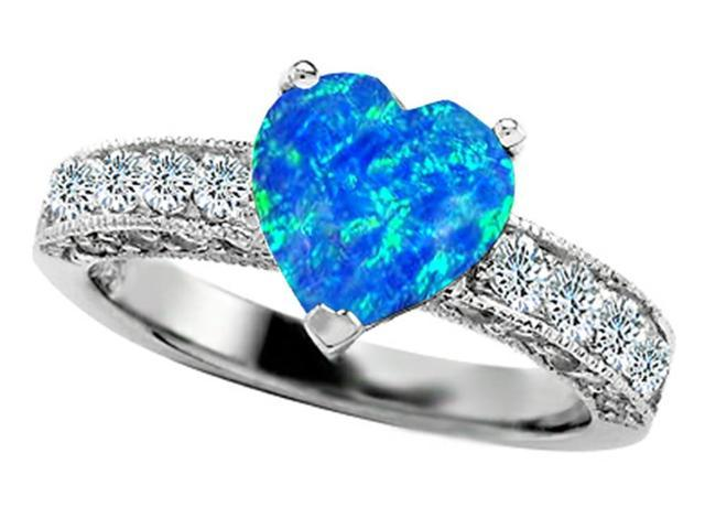 Star K 8mm Heart Shape Simulated Blue Opal Ring in Sterling Silver Size 8