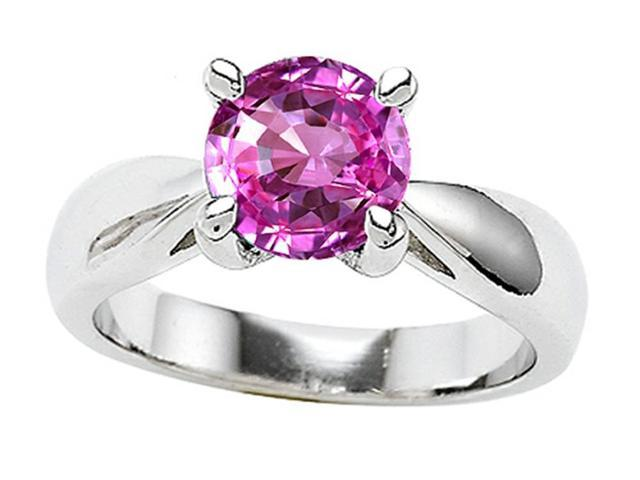 Star K 7mm Round Created Pink Sapphire Ring in Sterling Silver Size 6