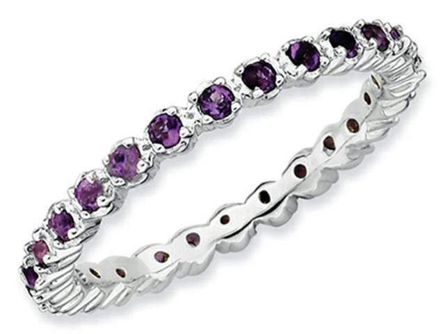 Stackable Expressions Sterling Silver Amethyst Stackable Ring Size 8