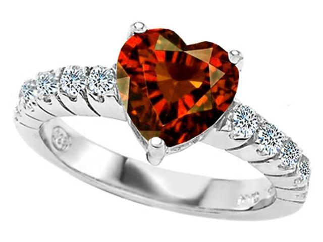 Star K 8mm Heart Shape Simulated Garnet Engagement Ring in Sterling Silver Size 8