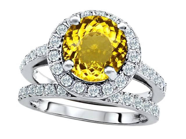Star K 8mm Round Simulated Citrine Wedding Set in Sterling Silver Size 6