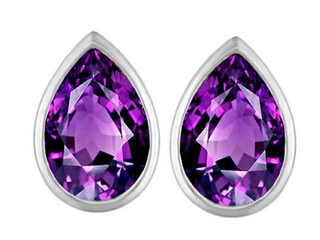 Star K 9x6mm Pear Shape Simulated Amethyst Earrings Studs in Sterling Silver