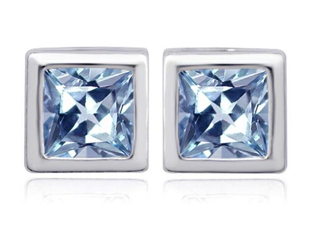 Star K 8mm Square Cut Simulated Aquamarine Earrings Studs in Sterling Silver
