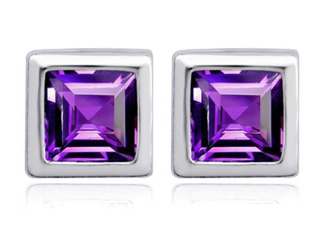 Star K 7mm Square Cut Simulated Amethyst Earrings Studs in Sterling Silver