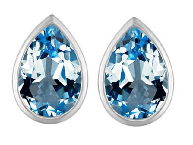 Star K 9x6mm Pear Shape Simulated Blue Topaz Earrings Studs in Sterling Silver