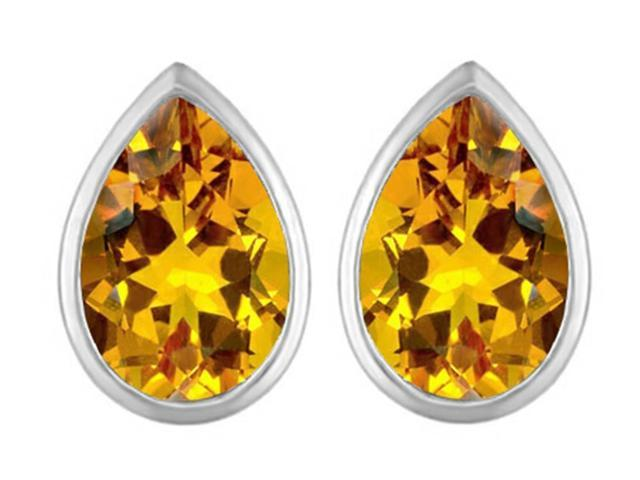 Star K 9x6mm Pear Shape Simulated Citrine Earrings Studs in Sterling Silver
