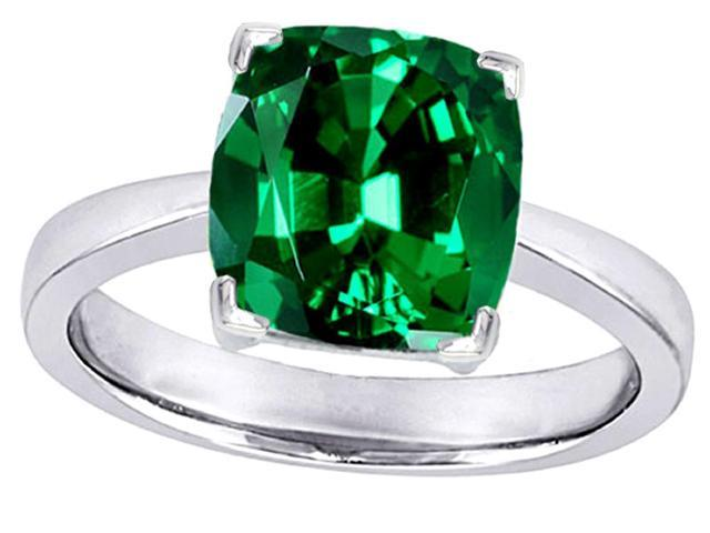 Star K Large 10mm Cushion Cut Solitaire Ring with Simulated Emerald in Sterling Silver Size 5