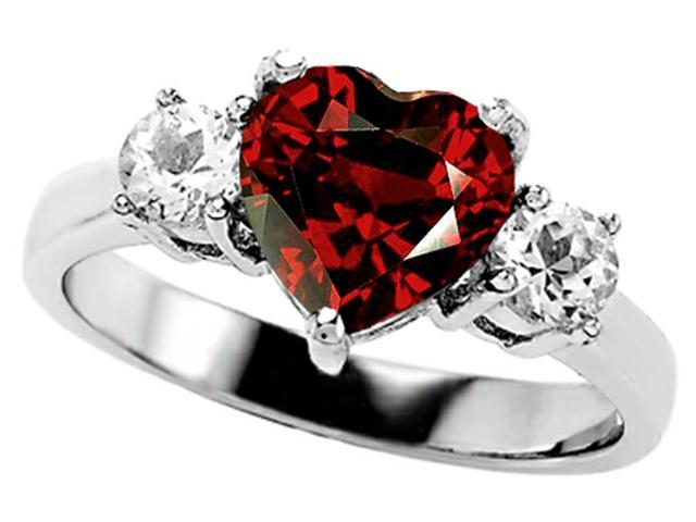 Star K 8mm Heart Shape Simulated Garnet Engagement Ring in Sterling Silver Size 5
