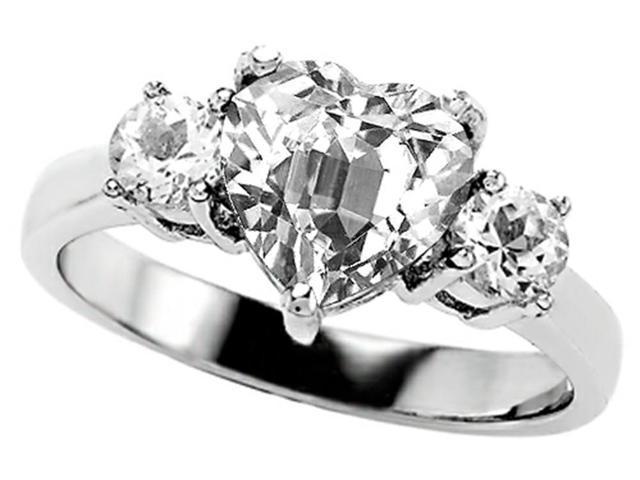 Star K 8mm Heart Shape Genuine White Topaz Ring in Sterling Silver Size 7
