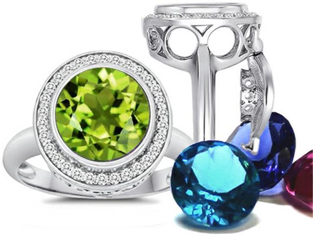 Switch-It Gems Round 10mm Simulated Peridot Ring with 12 Interchangeable Simulated Birth Months Sterling Silver Size 6