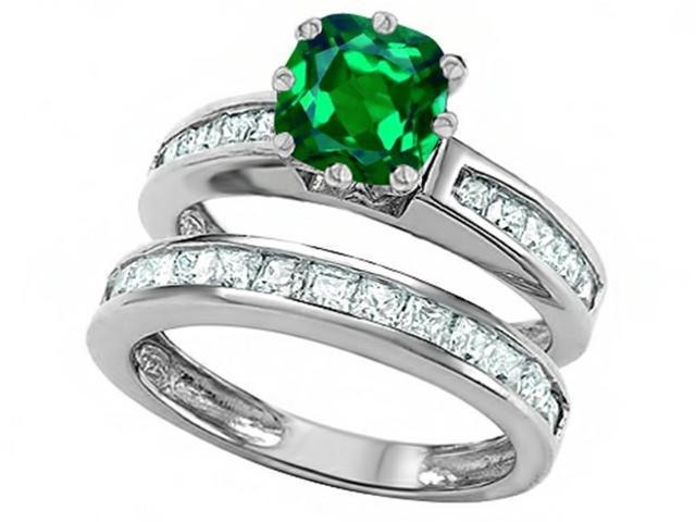 Star K Cushion Cut 7mm Simulated Emerald Wedding Set in Sterling Silver Size 5
