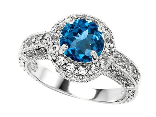 Star K 7mm Round Simulated Blue Topaz Engagement Ring in Sterling Silver Size 7