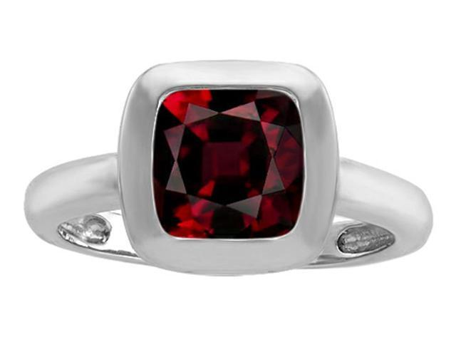 Star K 8mm Cushion Cut Solitaire Ring with Simulated Garnet in Sterling Silver Size 7