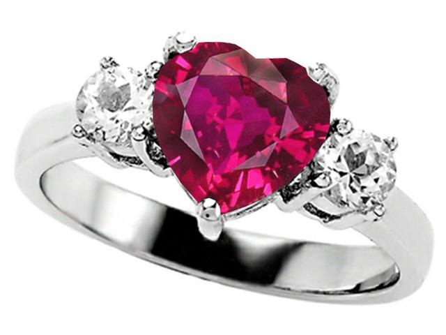 Star K 8mm Heart Shape Created Pink Sapphire Ring in Sterling Silver Size 5