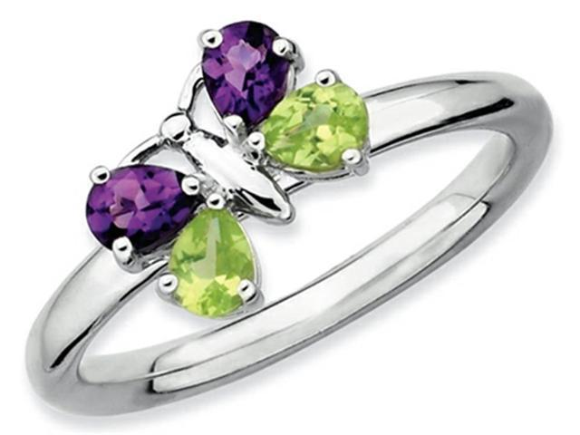 Stackable Expressions Sterling Silver Amethyst and Peridot Butterfly Stackable Ring Size 6