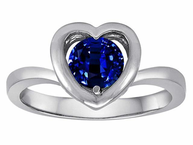 Star K Heart Promise of Love Ring with 7mm Round Created Sapphire in Sterling Silver Size 5