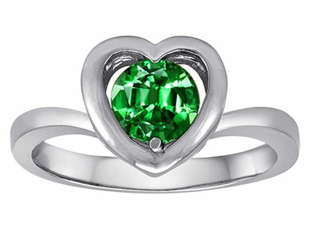 Star K Heart Promise of Love Ring with 7mm Round Simulated Emerald in Sterling Silver Size 8