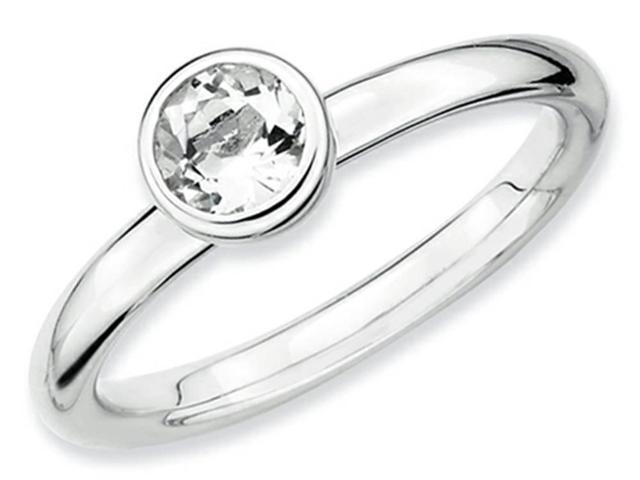 Stackable Expressions Sterling Silver Low 5mm Round White Topaz Stackable Ring Size 7