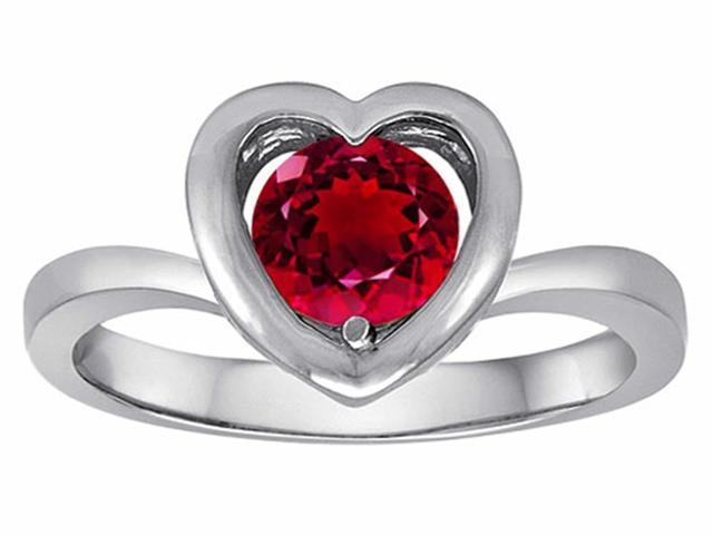 Star K Heart Engagement Promise of Love Ring with 7mm Round Created Ruby in Sterling Silver Size 7
