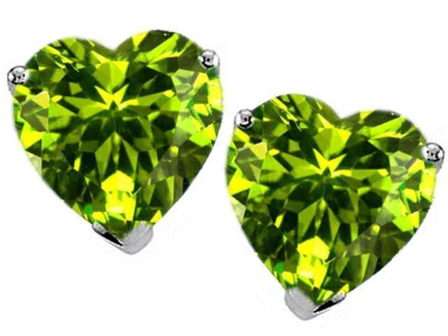 Star K Heart Shape Simulated Peridot Earrings Studs in Sterling Silver
