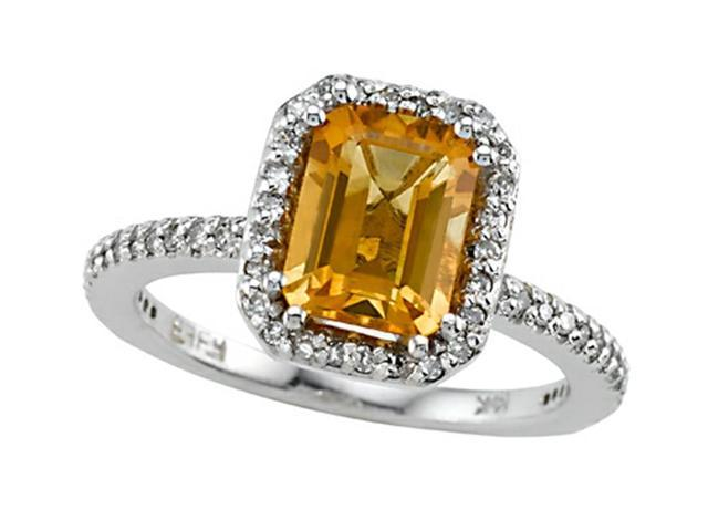 Genuine Citrine Ring by Effy Collection in 14 kt White Gold Size 6.5