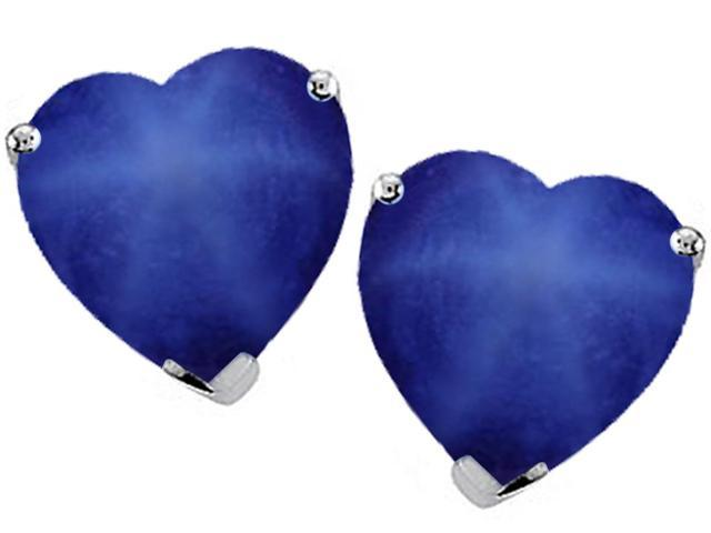 Original Star K(TM) 7mm Heart Shape Created Star Sapphire Earring Studs