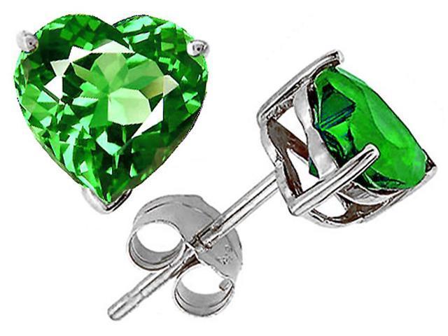 Original Star K 7mm Heart Simulated Emerald Earring Studs