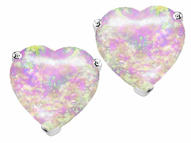 Star K 7mm Heart Shape Pink Created Opal Earrings Studs in Sterling Silver
