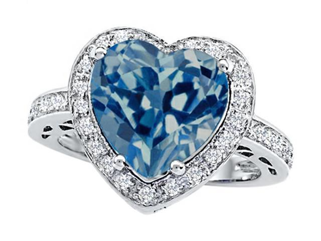 Star K Large 10mm Heart Shape Simulated Blue Topaz Wedding Ring in Sterling Silver Size 7