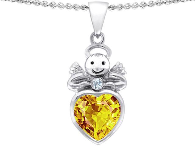 Star K Love Angel Pendant with 10mm Simulated Citrine Heart in Sterling Silver