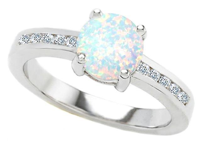 Star K Round 7mm Simulated Opal Ring in Sterling Silver Size 6